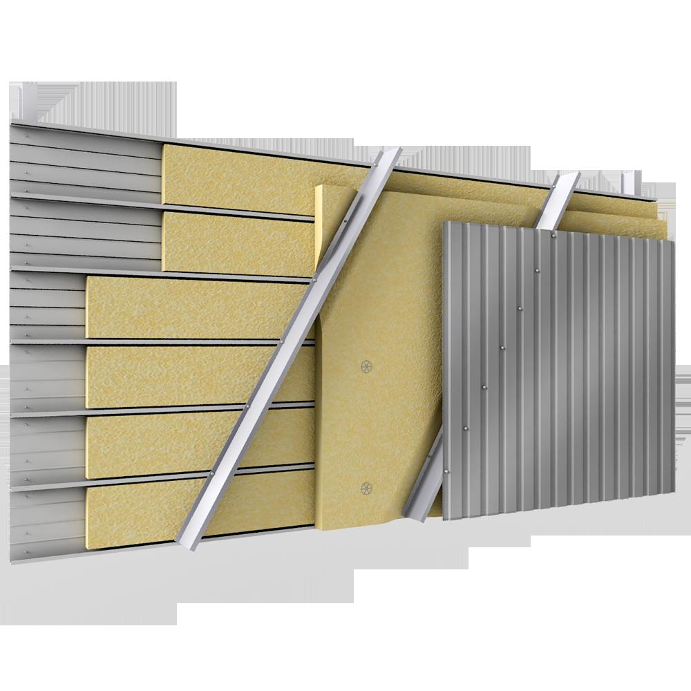 bardage en acier double peau en pose verticale avec plateaux pleins et carteurs en biais avec. Black Bedroom Furniture Sets. Home Design Ideas